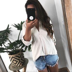 Megan V-Neck Cotton Top - Light Beige